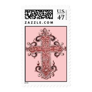 ¡Sello cruzado rosado de los E.E.U.U. del arte del Timbre Postal
