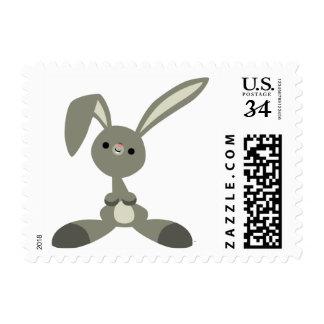 Sello curioso lindo del conejo del dibujo animado