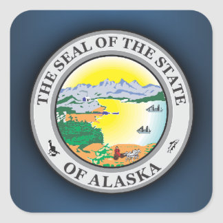 Sello de Alaska Pegatina Cuadrada