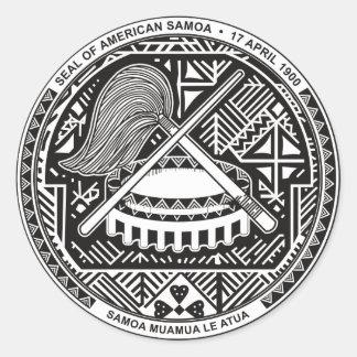 Sello de American Samoa Pegatina Redonda