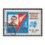 Sello de Andrian Nikolayev Vostok 3 URSS de la Tarjeta Postal