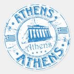 Sello de Atenas Pegatina Redonda