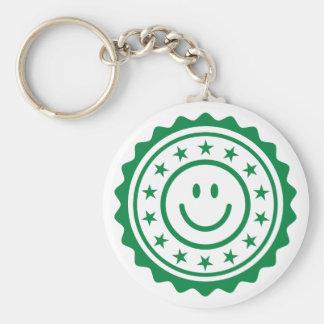 Sello de calidad aprobado verde sonriente llavero redondo tipo pin