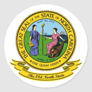 Sello de Carolina del Norte Pegatina Redonda