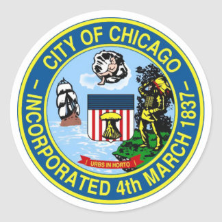 Sello de Chicago Etiquetas Redondas