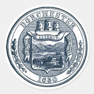 Sello de Dorchester Massachusetts, azul marino Pegatinas Redondas