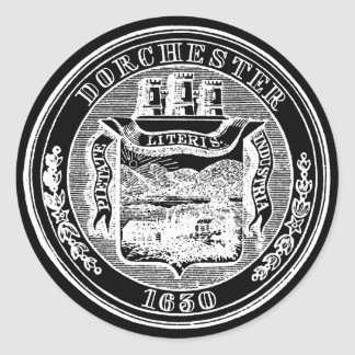 Sello de Dorchester Massachusetts, blanco Pegatinas Redondas