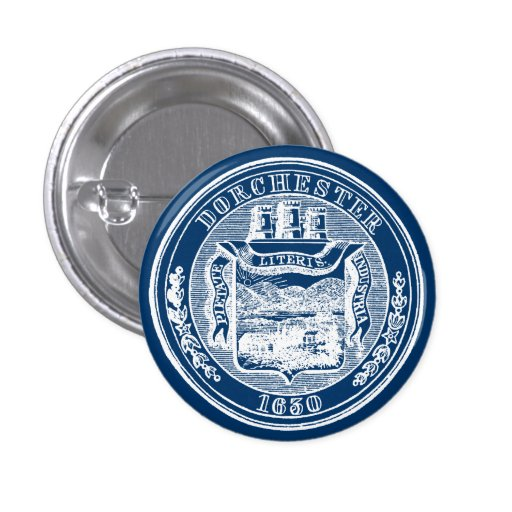 Sello de Dorchester Massachusetts, blanco Pins
