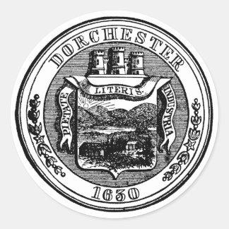 Sello de Dorchester Massachusetts, negro Pegatina Redonda