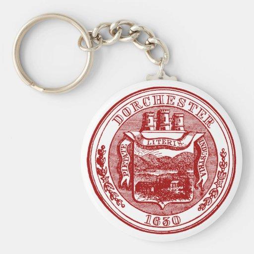 Sello de Dorchester Massachusetts, rojo Llavero Redondo Tipo Pin