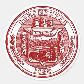 Sello de Dorchester Massachusetts, rojo Etiquetas Redondas