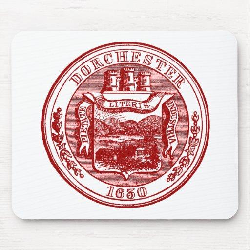 Sello de Dorchester Massachusetts, rojo Tapete De Ratones