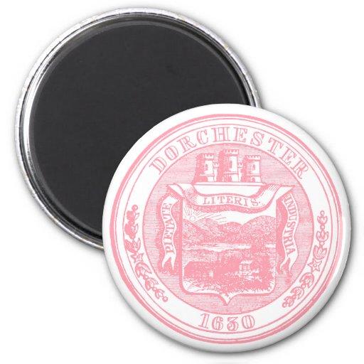 Sello de Dorchester Massachusetts, rosado Iman Para Frigorífico