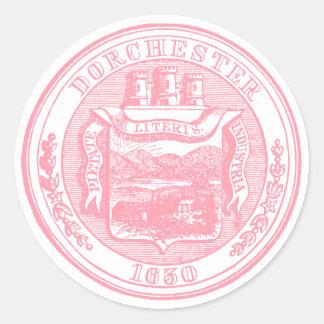 Sello de Dorchester Massachusetts, rosado Pegatinas Redondas