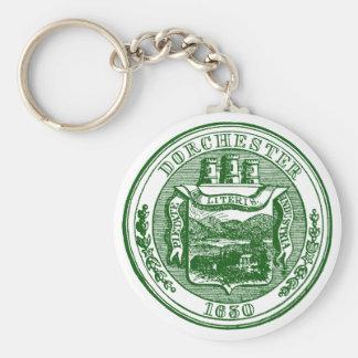 Sello de Dorchester Massachusetts, verde Llavero Redondo Tipo Pin