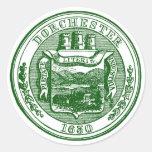 Sello de Dorchester Massachusetts, verde Etiqueta Redonda