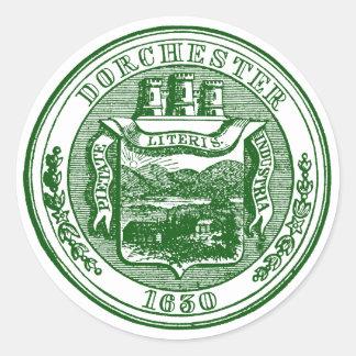 Sello de Dorchester Massachusetts, verde Pegatina Redonda