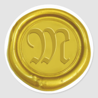 Sello de encargo de la cera del oro clásico del pegatina redonda
