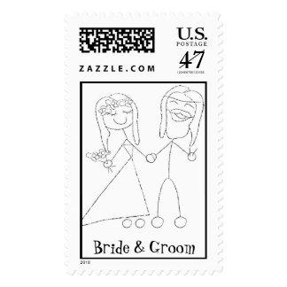 Sello de encargo del boda de la novia y del novio