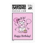 Sello de encargo del cumpleaños rosado del caniche