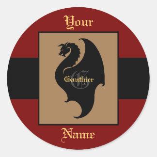 Sello de encargo del monograma rojo y negro del pegatina redonda