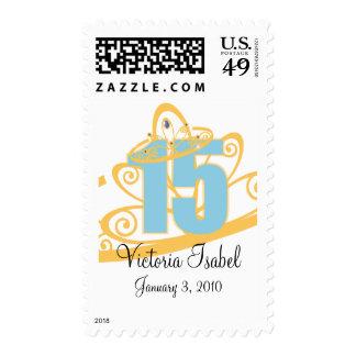 sello de encargo del quinceañera de la tiara azul