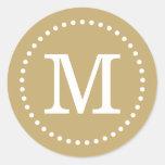 Sello de encargo del sobre del monograma del oro pegatina redonda