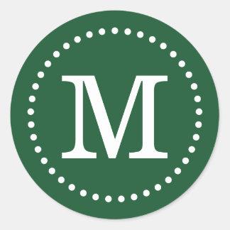 Sello de encargo del sobre del monograma del verde etiqueta redonda
