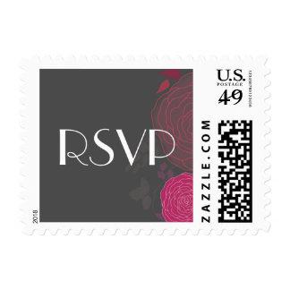Sello de encargo floral rosado gris romántico de R