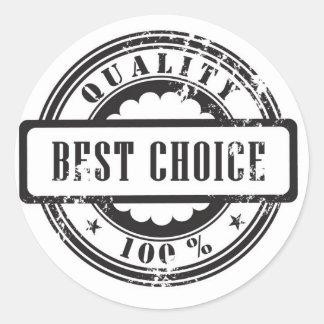 """Sello de goma la """"mejor opción"""" en formato del pegatina redonda"""