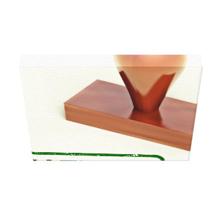 Sello de goma produciendo la palabra natural lienzo envuelto para galerías