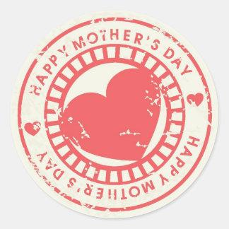Sello de goma sucio para el día de madre feliz pegatinas redondas