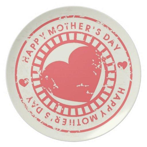 Sello de goma sucio para el día de madre feliz plato de cena