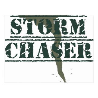 Sello de goma y embudo del cazador de la tormenta postales