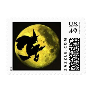 Sello de Halloween de la bruja del vuelo