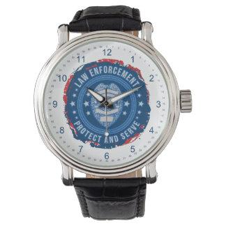 Sello de la aplicación de ley de la seguridad reloj de mano