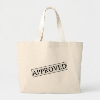 Sello de la aprobación bolsa tela grande