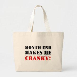 Sello de la aprobación del fin de mes el bolsa tela grande
