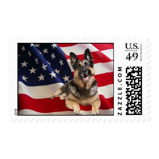 Sello de la bandera americana del pastor alemán