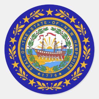 Sello de la bandera de New Hampshire Pegatina Redonda