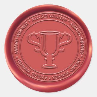 Sello de la cera de la muestra del trofeo pegatina redonda