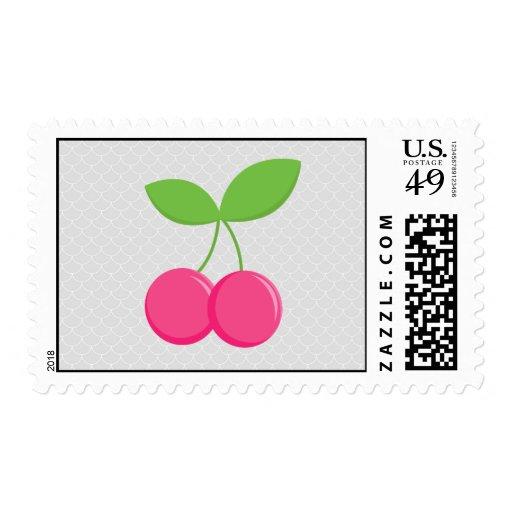 Sello de la cereza moderna y dulce - rosa y gris