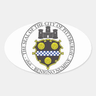 Sello de la ciudad de Pittsburgh Colcomanias De Óval Personalizadas
