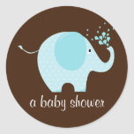 Sello de la ducha del elefante del bebé pegatina redonda