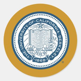 Sello de la escuela de Uc Berkeley - azul Pegatina Redonda