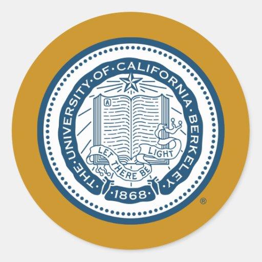 Sello de la escuela de Uc Berkeley - azul Etiqueta Redonda