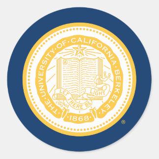 Sello de la escuela de Uc Berkeley - oro Pegatina Redonda