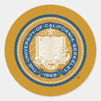 Sello de la escuela de Uc Berkeley - oro y azul Pegatina Redonda