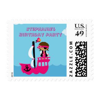 Sello de la fiesta de cumpleaños del pirata del ch