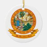 Sello de la Florida Adorno Navideño Redondo De Cerámica